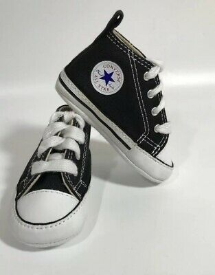 Converse Baby Shoes First Star Bootie Black Crib Infant Chuck Taylor Size 2
