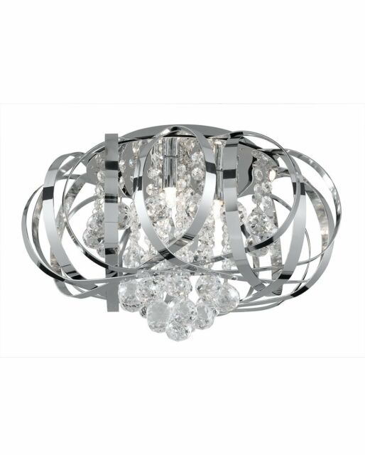 Searchlight Tilly 3 Light Crystal Flush Ceiling Fitting 5973-3CC