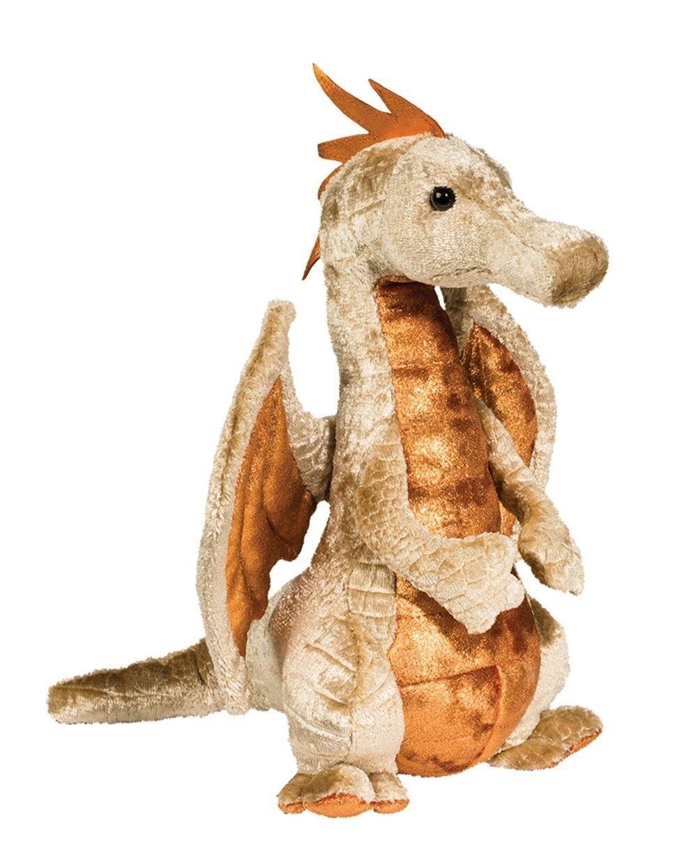 10 Inch Elgar Copper Dragon Push Stuffed Animal by Douglas