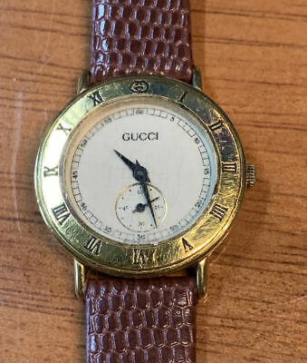Ladies Nice Vintage Gucci Gold Wrist Watch With New Brown Band