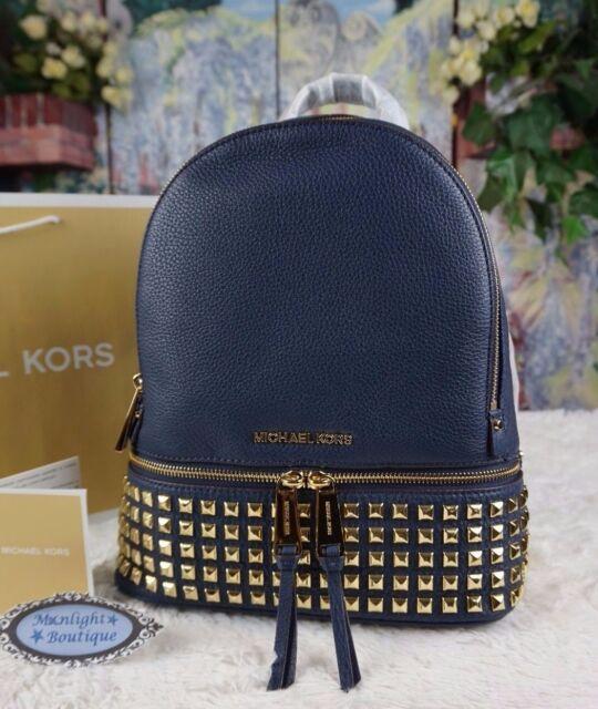 280ec1458b77 NWT Michael Kors RHEA SMALL Studded Backpack Bag Pebbled Leather NAVYGOLD  358