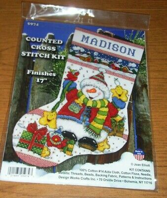Design Works Counted Cross Stitch Kit Snowman Fun Stocking #5974, Finishes 17