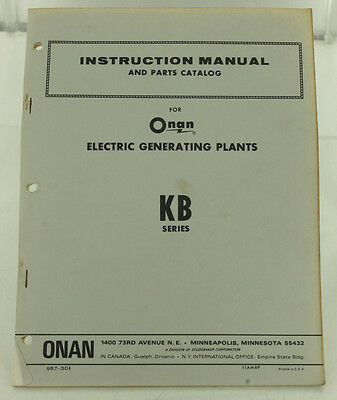 Vintage Onan Kb Series Generator Genset Instruction Manual Parts Catalog