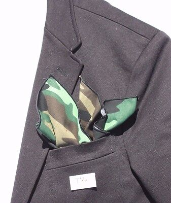 Men's Camo Print Pocket Square with Black Trim