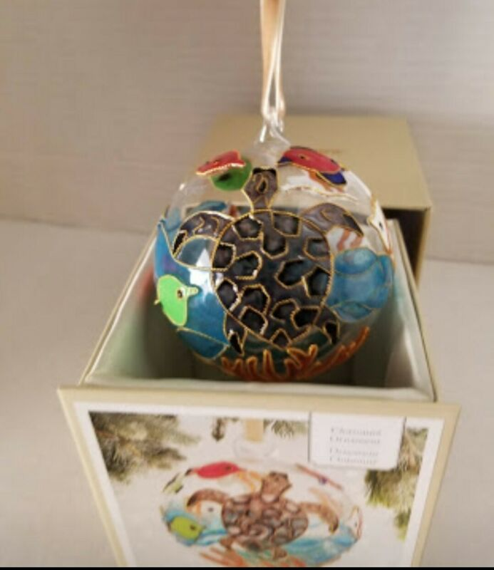 Pier 1 Imports 2019 cloisonne christmas Ornament Turtle, sea life New