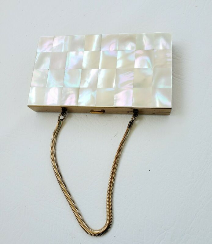 """Vintage Rare1950's Marhill Geniune """"Mother of Pearl"""" Makeup Case with Handle"""