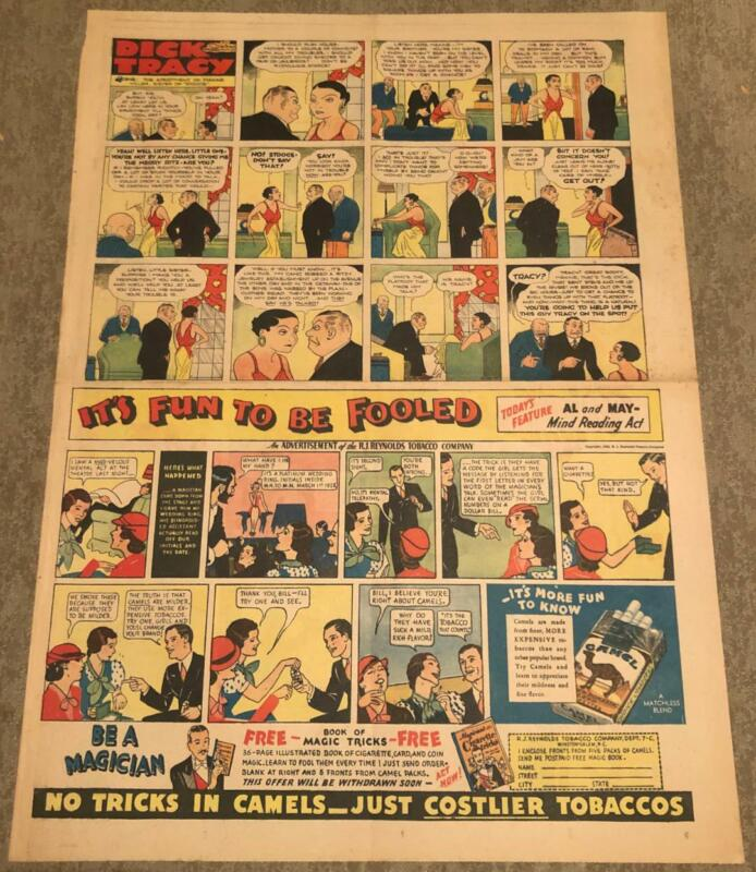DICK TRACY FULL PAGE SUNDAY 7/2/33 CHESTER GOULD CAMEL AD WINNIE WINKLE BIN
