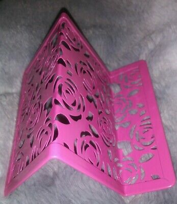 Hot Pink Floral Metal Business Card Holder Display