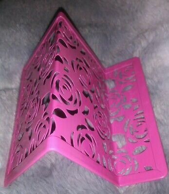 Hot Pink Floral Metal Business Card Holder Display