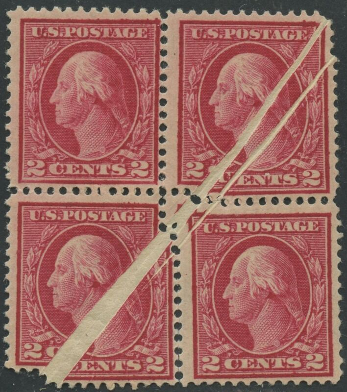 """#406 Var. """"washington"""" Block Of 4 With Double Pre-print Paperfold Error Bs70"""