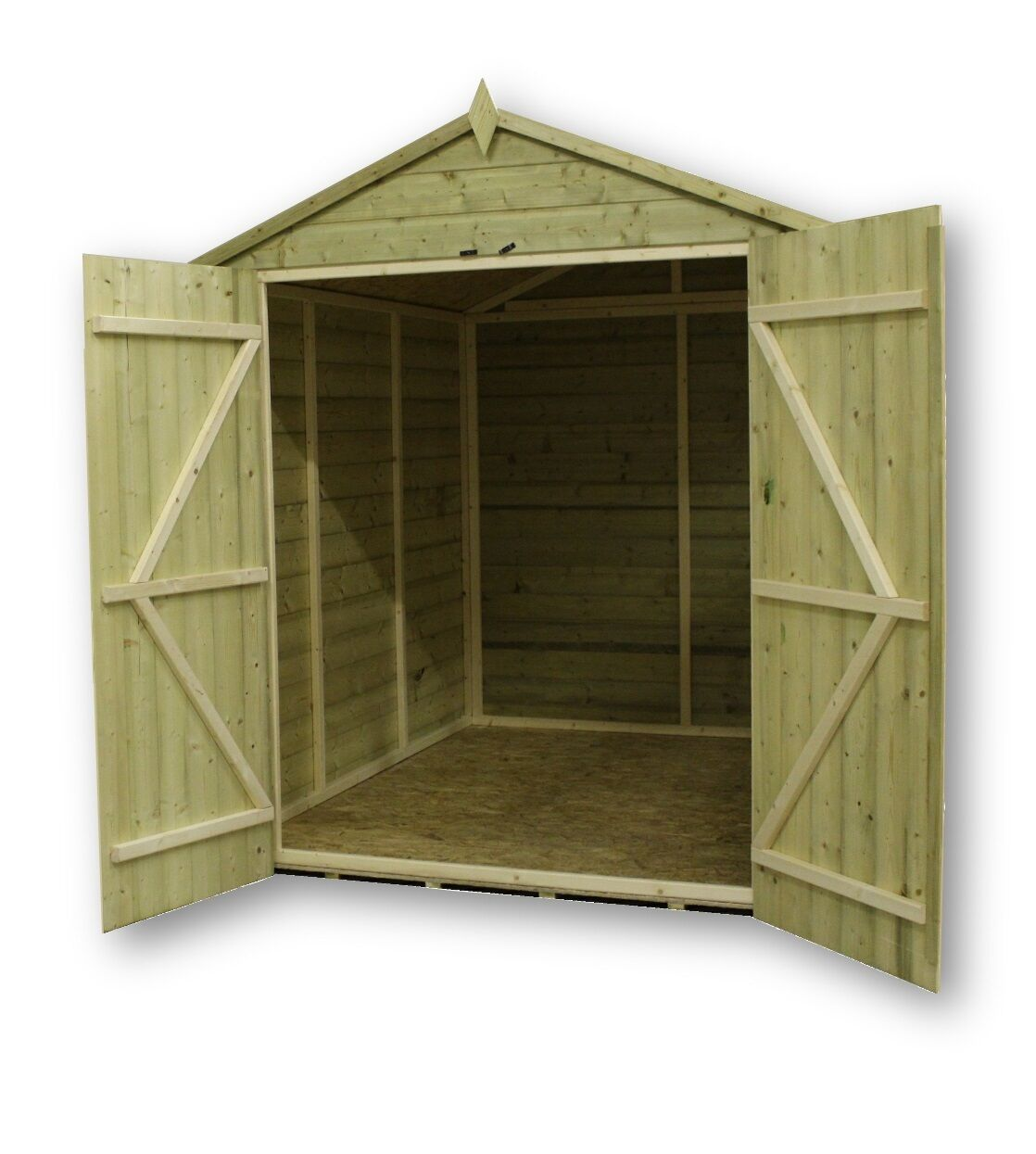garden shed 6x7 shiplap apex tanalised pressure treated with double door