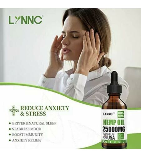 LYNNC Hemp Oil for Anxiety Relief  25000 MG Premium Seed Grade Natural Hemp NEW! 1
