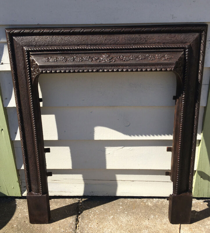Vintage Early Ornate 1900s Cast Iron Fireplace Mantle Surround