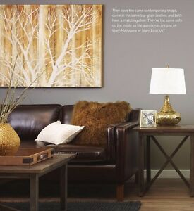 URBAN BARN TOP-GRAIN LEATHER COUCH
