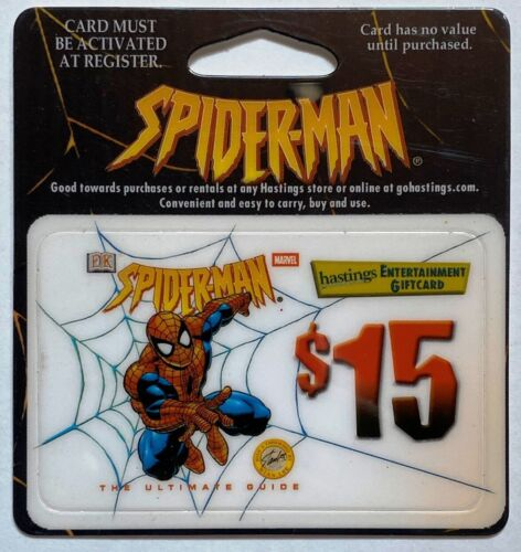 Spider-man Guide Hastings $15 Gift Card MOC 2002 EXPIRED Amazing Spectacular