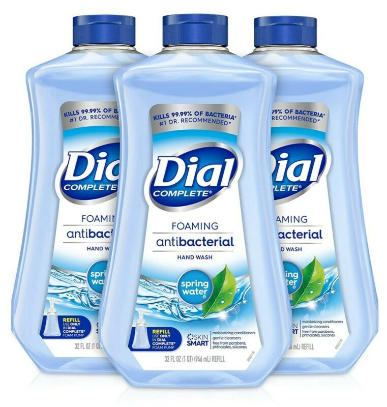 3 Dial Complete Foaming Hand Wash Refill, Spring Water Soap Refill, 40oz x3