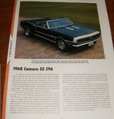 - ★★1968 CHEVY CAMARO SS 396 SPECS INFO PHOTO L89 L34 67 68 69 SS396 CONVERTIBLE★★