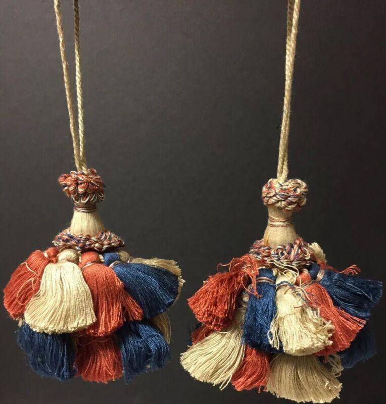 Pair of Antique Curtain Tiebacks Tassels