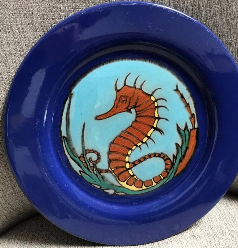 "Catalina Island Pottery Seahorse decorated  10 1/2""Blue Plate circa 1930's"