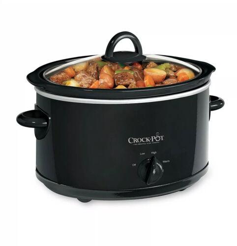 Kitchen Crock Pot Black, 4 Quart Portable Oval Slow Cooker H