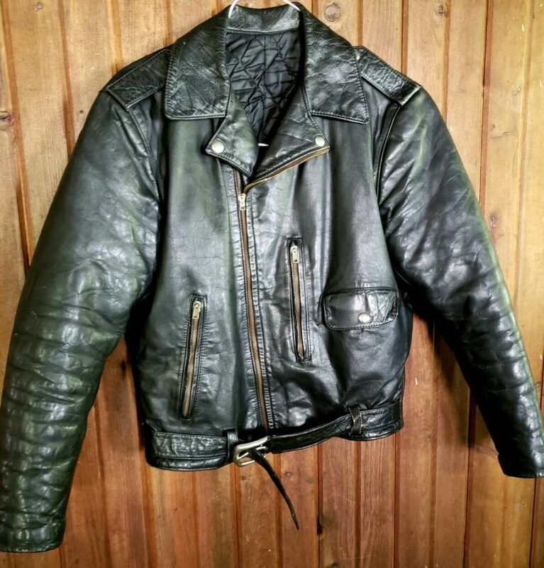 50s 60s Horsehide or Steerhide  Leather Jacket Moto Biker Vintage Black XS Small