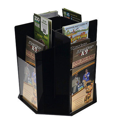 Counter-top Literature Pamphlet Rack Spinning 8 Pockets Tiered Black Acrylic