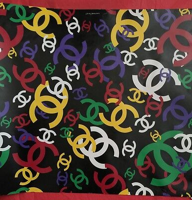"Chanel Gift Wrap Paper 18"" Wide, Sold By The Yard , New Condition"