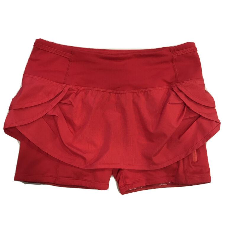 LULULEMON Run SPEED SQUAD Currant Red Gripper Short Skort Skirt 4 RARE EUC!
