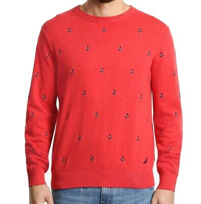 Nautica Mens Sweater Red Size XL Anchor Embroidered Knit Crewneck $89 #002