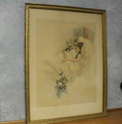 RARE! Vintage Framed Bessie Pease Gutman Print DREAMS COME TRUE antique BIG 1914 Antique Framed Print