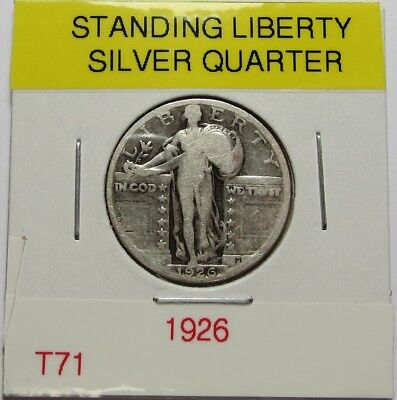 1926  STANDING LIBERTY SILVER QUARTER ~ VERY NICE! ~ COMBINED SHIP LOT T71