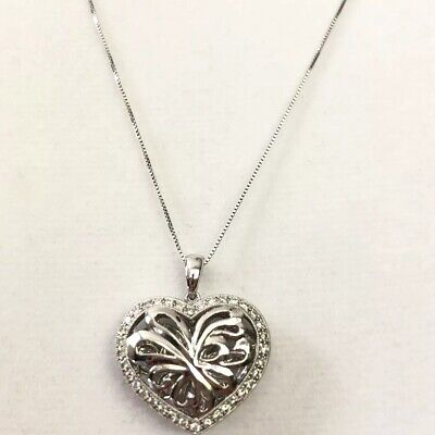 "Solid 14k White Gold Diamond 3D Heart Pendant Necklace 5.9g, 18"" Chain"