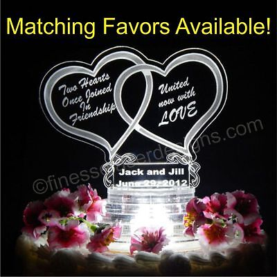 LED Double Heart Shaped Lighted Wedding Cake Topper Acrylic Top Custom Engraved Double Heart Wedding Cake Top