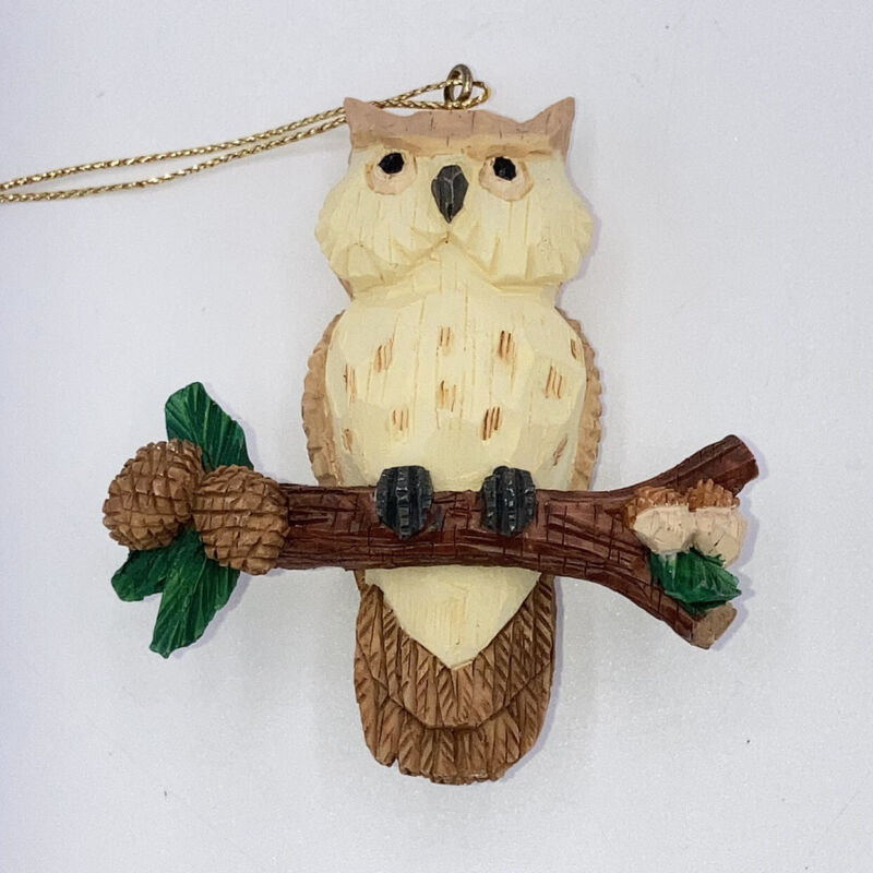 Papel Giftware 1998 Owl On Pine Branch Figurine Christmas Ornament
