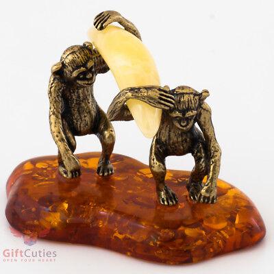 Solid Brass Amber Figurine Monkeys carrying huge Banana IronWork
