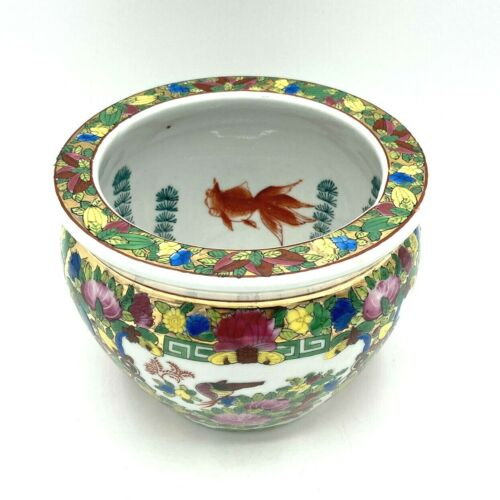 Vintage Hand-Painted Chinoiserie Gilded Asian Porcelain Koi Fishbowl Planter