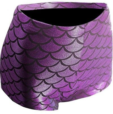 Mermaid Purple Scale Printed Womens Adult Costume Dress Up Dance Shorts-Small