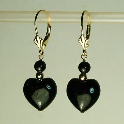14k solid y/gold 12x12x7mm heart shape natural Black Onyx earrings leverback