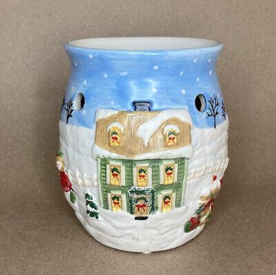 Yankee Candle Wax Tart Warmer Burner Christmas Snowman Cottage Snow House Winter