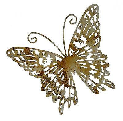 animaux de decoration de jardin ou d interieur papillon mural en metal fer 25cm
