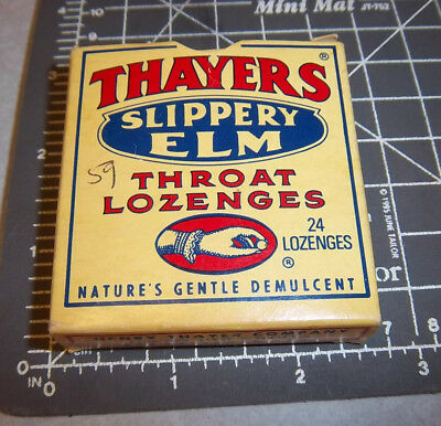 Thayers Slippery Elm Throat Lozenges Box  Great Colors   Graphics  Some Left