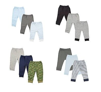 LUVABLE FRIENDS BABY BOYS 3 PACK TAPERED ANKLE PANTS COTTON 0 TO 24 MONTHS  NEW