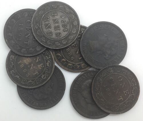 Canada 1876H 1898 H Victoria  Lot Large Cents 8 Different Coins