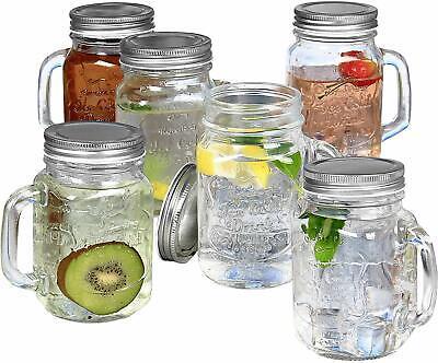 Glass Mason Jars With Handles (Estilo Mason Jar Mugs with Handles Old Fashioned Drinking Glass Set 6, 16)