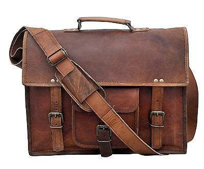 New Large Mens Genuine Vintage Leather Messenger Bag Shoulder Laptop Briefcase