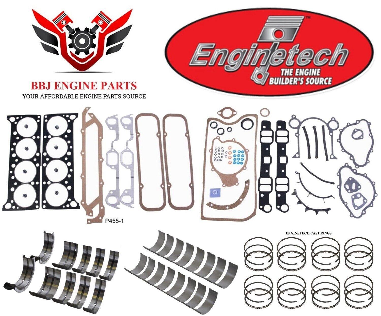 ENGINETECH CHEVY SBC 305 5.0 RE RING REBUILD KIT WITH MAIN BEARINGS 76-85