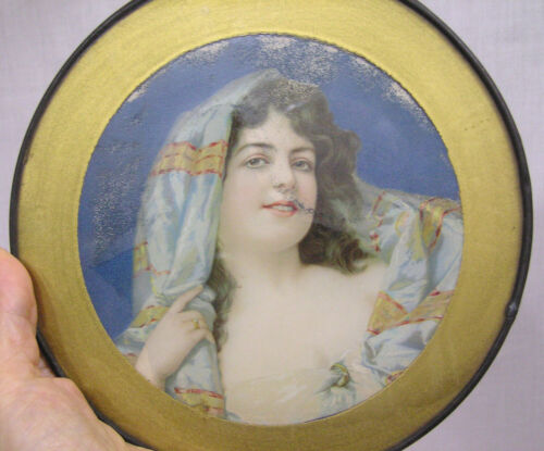 "Vtg Victorian Flue Cover Lovely Young Lady Portrait 7 3/4"" Diameter"