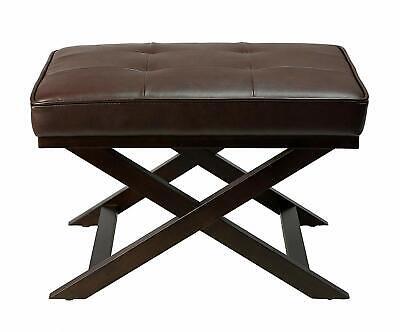 Cortesi Home Ari X Bench Ottoman in Bonded Leather with Dark Walnut Brown  ()