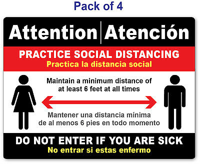 4 - Social Distancing Sticker English Spanish - Sign Virus Business Store Red