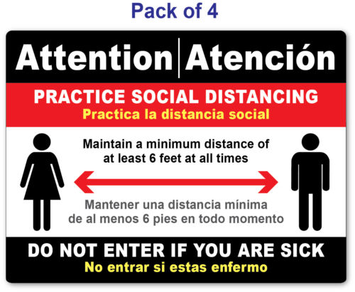 4 - SOCIAL DISTANCING STICKER English / Spanish - Sign VIRUS Business Store Red